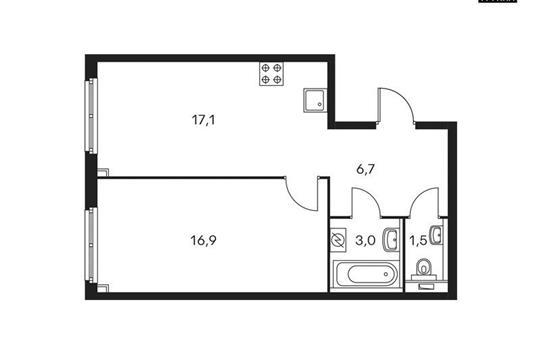1-комнатная квартира, 45.2 м<sup>2</sup>, 16 этаж