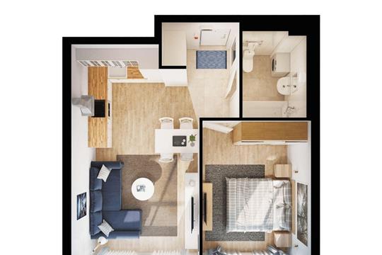 1-комнатная квартира, 40.5 м<sup>2</sup>, 32 этаж