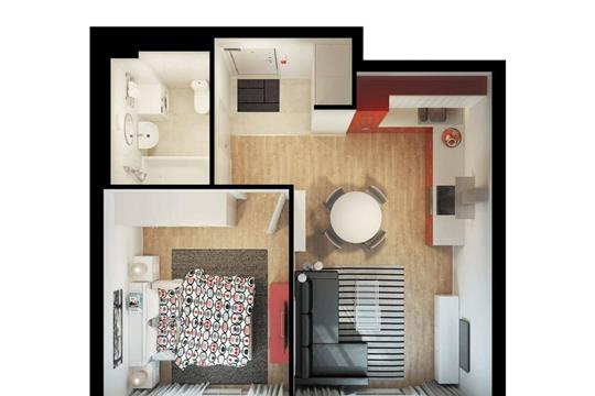 1-комнатная квартира, 42.1 м<sup>2</sup>, 33 этаж