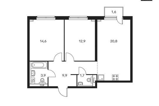 2-комнатная квартира, 64.3 м<sup>2</sup>, 11 этаж