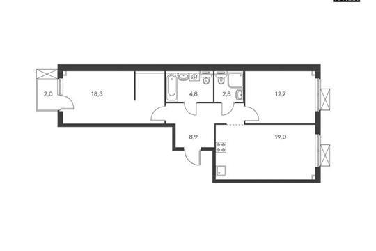 2-комнатная квартира, 66.6 м<sup>2</sup>, 2 этаж