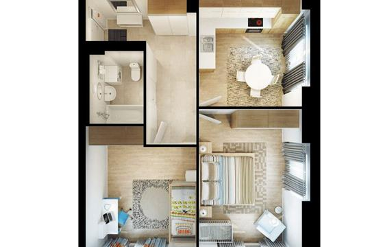 2-комнатная квартира, 58.4 м<sup>2</sup>, 31 этаж