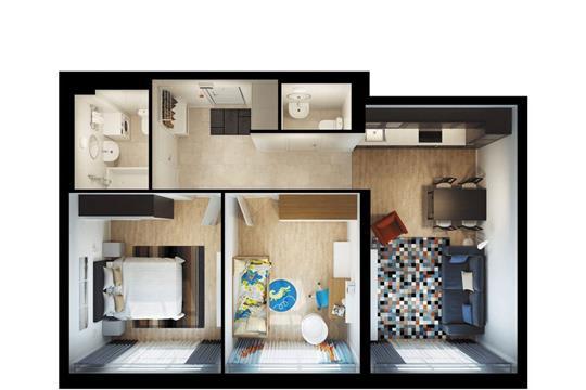 2-комнатная квартира, 63.1 м<sup>2</sup>, 2 этаж