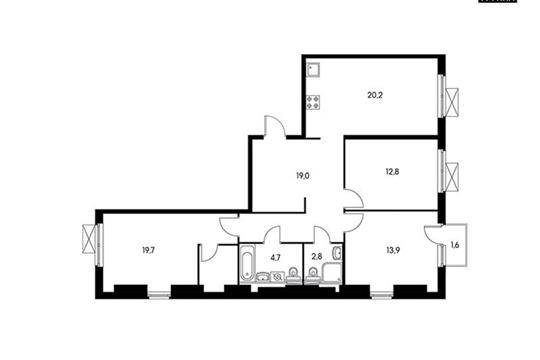 3-комнатная квартира, 93.6 м<sup>2</sup>, 6 этаж