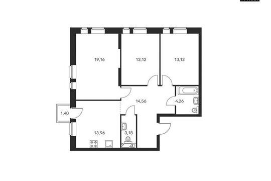 3-комнатная квартира, 81.78 м<sup>2</sup>, 9 этаж