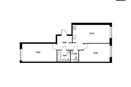 2-комнатная квартира, 73.66 м<sup>2</sup>, 12 этаж
