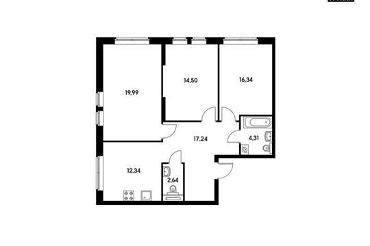 3-комнатная квартира, 87.48 м<sup>2</sup>, 4 этаж