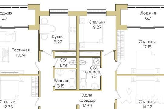 5-комнатная квартира, 115.68 м<sup>2</sup>, 16 этаж