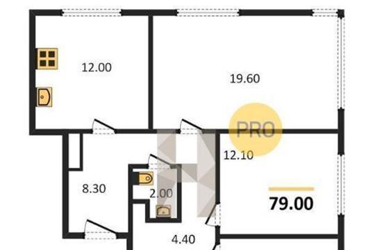 3-комнатная квартира, 79 м<sup>2</sup>, 27 этаж