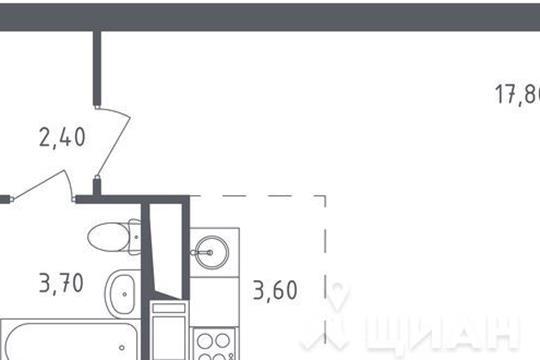 1-комнатная квартира, 27.5 м<sup>2</sup>, 15 этаж