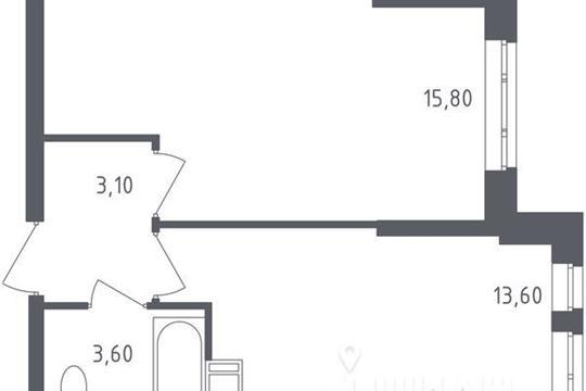 1-комнатная квартира, 36.1 м<sup>2</sup>, 14 этаж