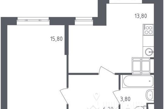 1-комнатная квартира, 39.6 м<sup>2</sup>, 9 этаж