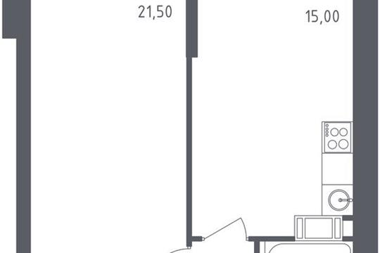 1-комнатная квартира, 43.7 м<sup>2</sup>, 18 этаж