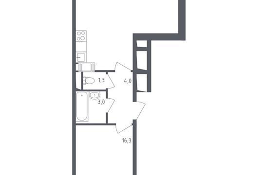 1-комнатная квартира, 50.5 м<sup>2</sup>, 8 этаж