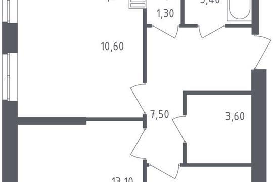 3-комнатная квартира, 58.9 м<sup>2</sup>, 14 этаж