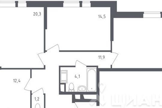 3-комнатная квартира, 82.8 м<sup>2</sup>, 11 этаж