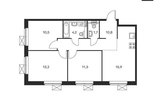 3-комнатная квартира, 67.6 м<sup>2</sup>, 3 этаж