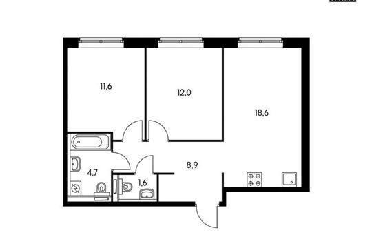 2-комнатная квартира, 57.4 м<sup>2</sup>, 11 этаж