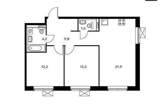 2-комнатная квартира, 61.9 м<sup>2</sup>, 10 этаж