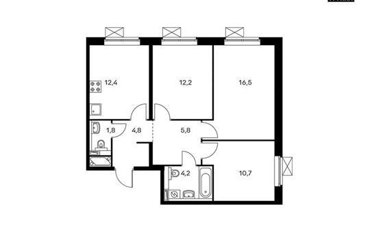 3-комнатная квартира, 68.4 м<sup>2</sup>, 20 этаж