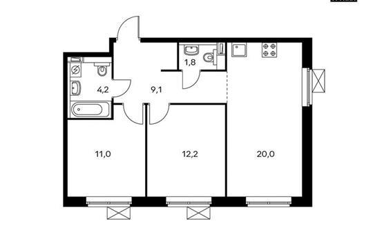 2-комнатная квартира, 58.3 м<sup>2</sup>, 20 этаж