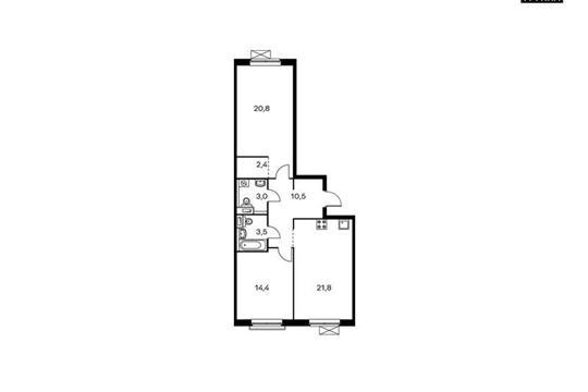 2-комнатная квартира, 76.4 м<sup>2</sup>, 7 этаж