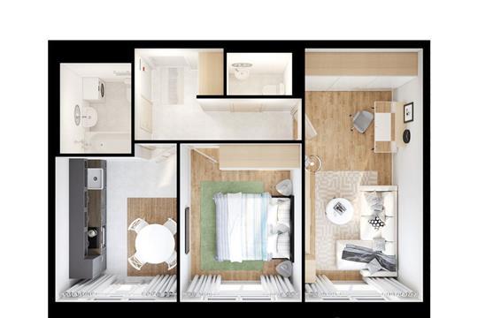 2-комнатная квартира, 50.7 м<sup>2</sup>, 20 этаж