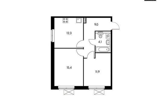 2-комнатная квартира, 52.5 м<sup>2</sup>, 9 этаж