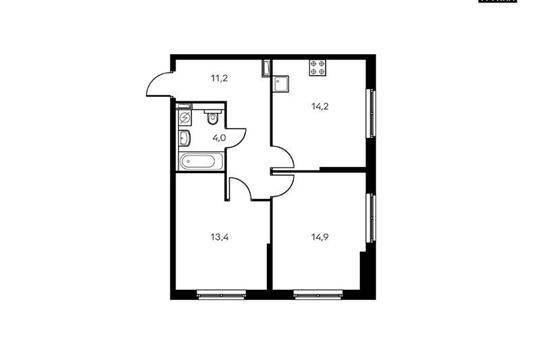2-комнатная квартира, 57.7 м<sup>2</sup>, 11 этаж