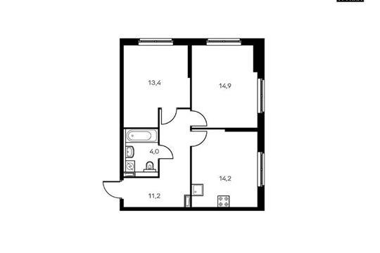 2-комнатная квартира, 57.7 м<sup>2</sup>, 9 этаж