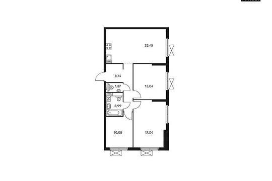 3-комнатная квартира, 77.97 м<sup>2</sup>, 28 этаж