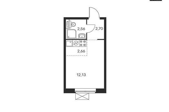 Студия, 20.05 м<sup>2</sup>, 25 этаж