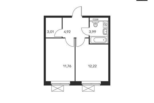 1-комнатная квартира, 36 м<sup>2</sup>, 20 этаж