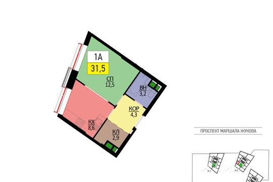 1-комнатная квартира, 31.5 м<sup>2</sup>, 48 этаж