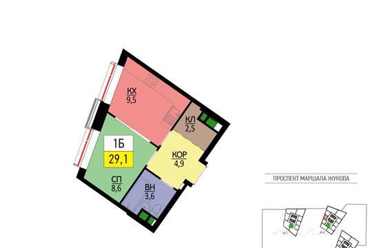 1-комнатная квартира, 29.1 м<sup>2</sup>, 51 этаж