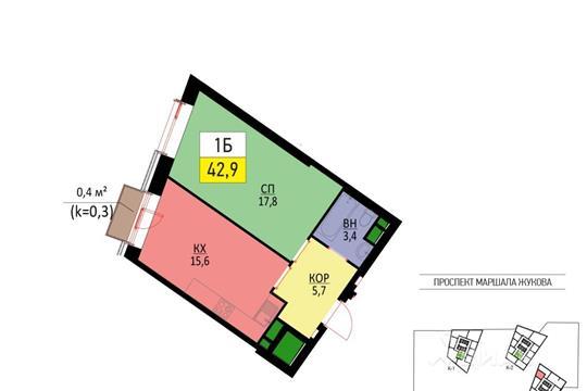 1-комнатная квартира, 42.9 м<sup>2</sup>, 19 этаж