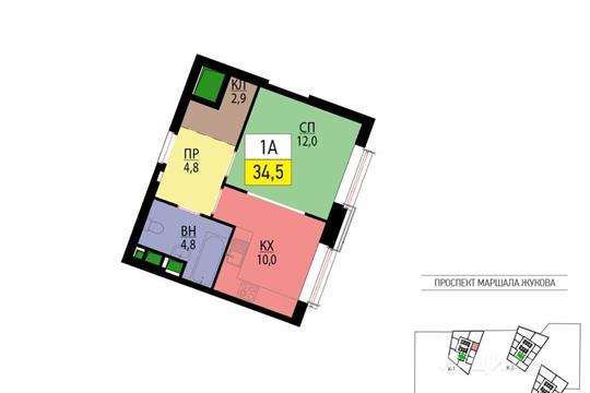 1-комнатная квартира, 34.5 м<sup>2</sup>, 44 этаж