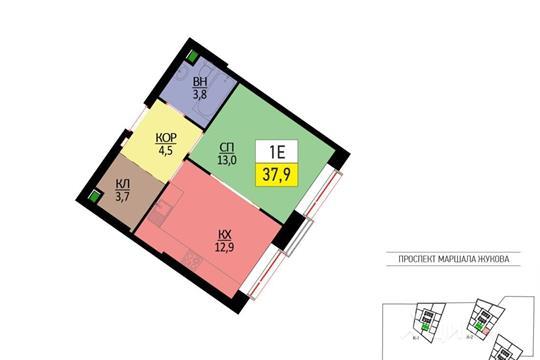 1-комнатная квартира, 37.9 м<sup>2</sup>, 19 этаж