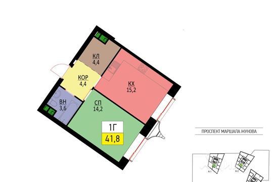 1-комнатная квартира, 41.8 м<sup>2</sup>, 5 этаж