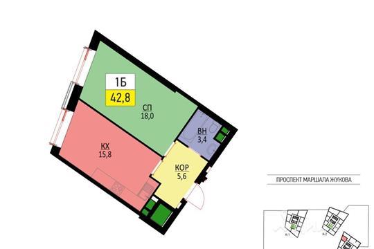 1-комнатная квартира, 42.8 м<sup>2</sup>, 32 этаж