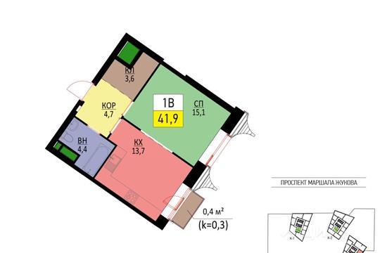 1-комнатная квартира, 41.9 м<sup>2</sup>, 10 этаж