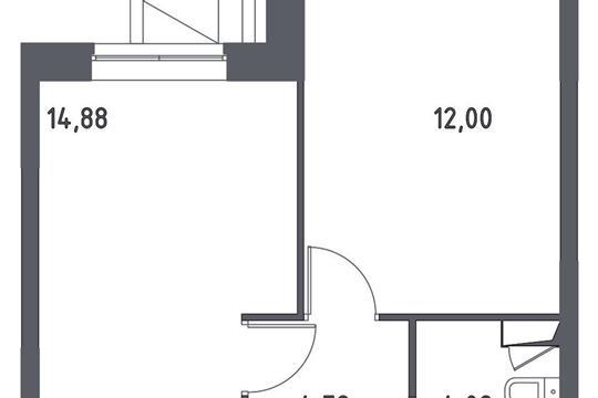 1-комнатная квартира, 35.76 м<sup>2</sup>, 1 этаж