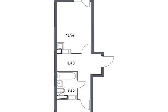 1-комнатная квартира, 38.09 м<sup>2</sup>, 2 этаж
