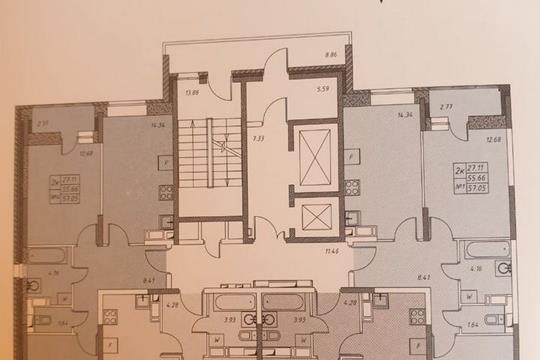 2-комнатная квартира, 55.6 м<sup>2</sup>, 17 этаж