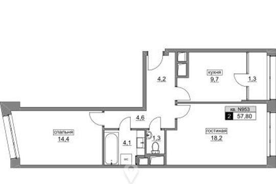 2-комнатная квартира, 57.8 м2, 6 этаж