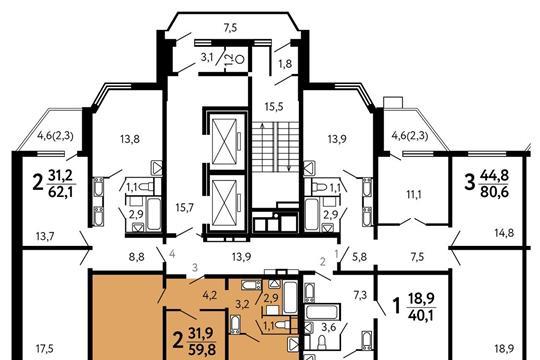 2-комнатная квартира, 59.8 м<sup>2</sup>, 22 этаж