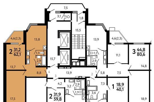 2-комнатная квартира, 62.1 м<sup>2</sup>, 16 этаж
