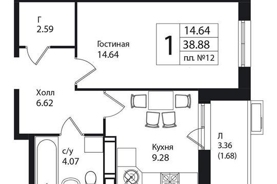 1-комнатная квартира, 38.88 м<sup>2</sup>, 3 этаж