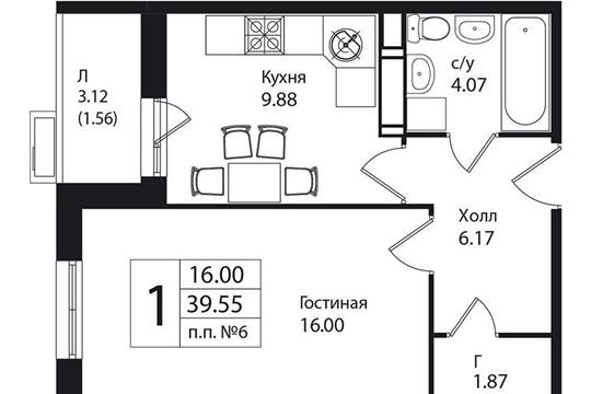 1-комнатная квартира, 39.55 м<sup>2</sup>, 2 этаж
