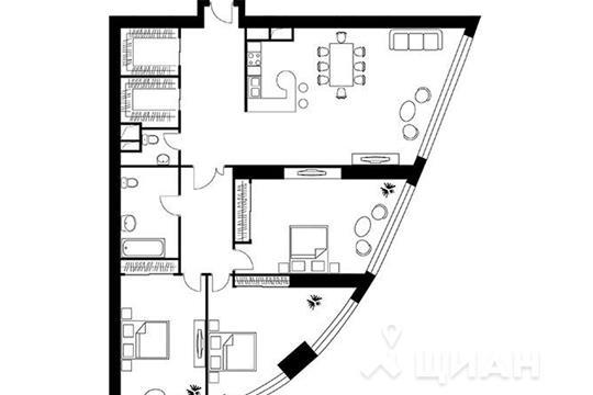 3-комнатная квартира, 165.6 м<sup>2</sup>, 27 этаж